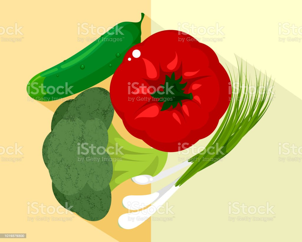 Vegetables and green onions vector art illustration
