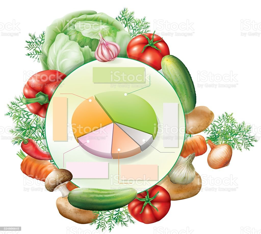 vegetables and infographic elements vector art illustration
