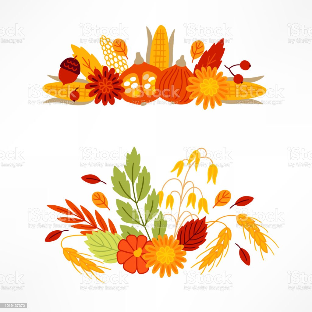 Vegetables and leaves compositions with corn, flowers, pumpkin, wheat, oat vector art illustration