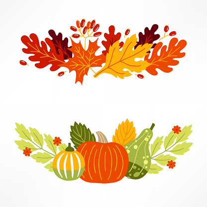 Vegetables and leaves compositions with pumpkins, berries and flowers