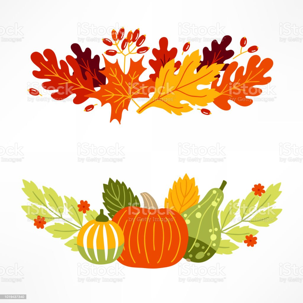 Vegetables and leaves compositions with pumpkins, berries and flowers vector art illustration
