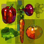 Vegetables Background, all shapes are in seperate layers. This is EPS 10 file, opacity reduced on some layers. no transparency modes used. Please visit my portfolio for more options