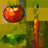 Vegetables Background, all shapes are in seperate layers. This is EPS 10 file, opacity reduced on some layers. no transparency modes used. Please visit my portfolio for more options.