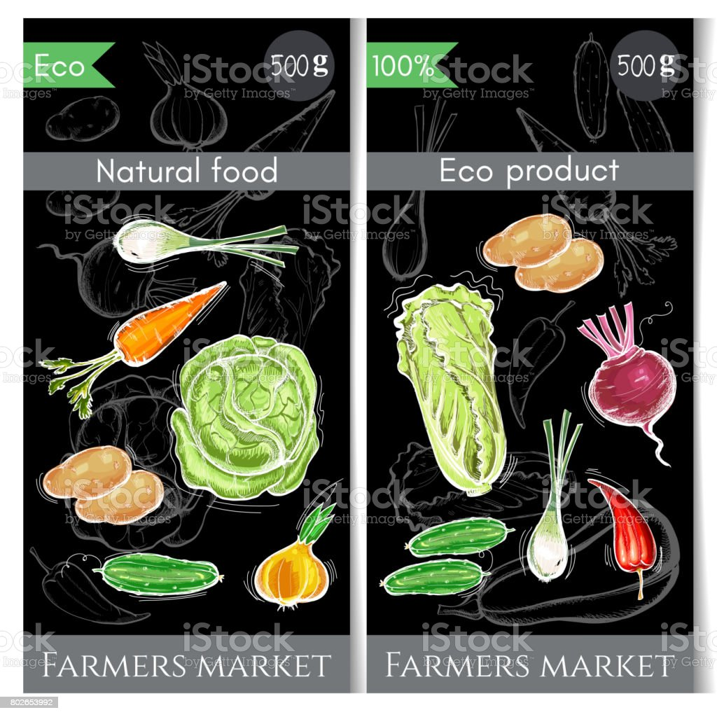 Vegetables banner. Healthy nutrition concept. Fresh vegetarian healthy food of vector chalk sketch. Eco farmer vegetables, potato, carrot, cabbage, pepper vector art illustration