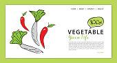 Vegetables banner template vector illustration, vegetable store homepage, web banner,  webpage cartoon concept, Healthy food homepage layout, website