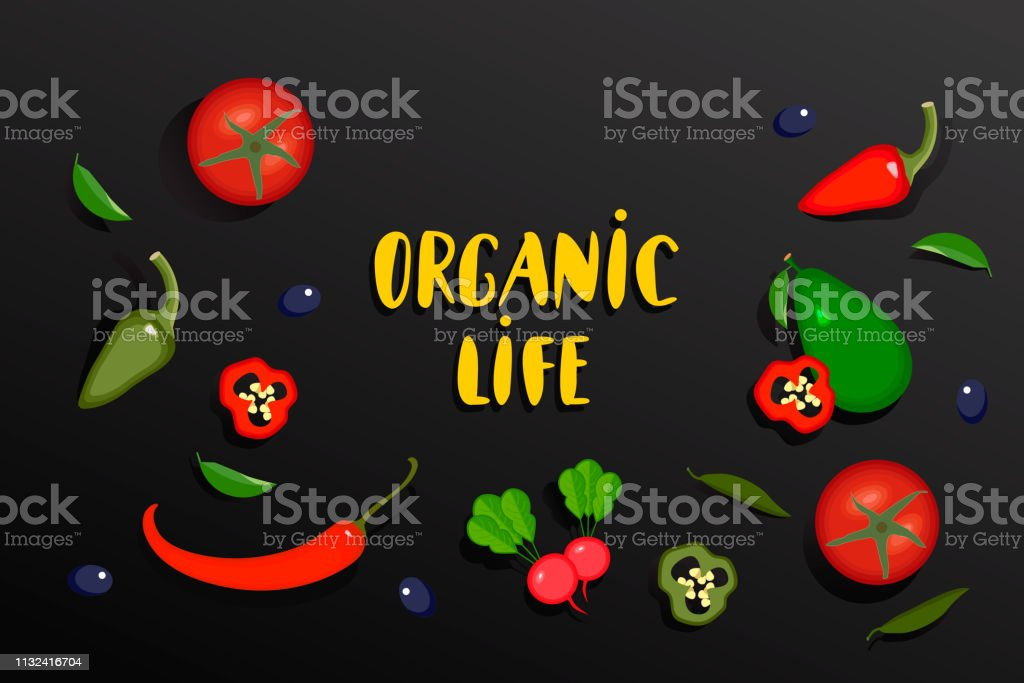 Vegetables banner with text Organic life. Vector Vegetables...