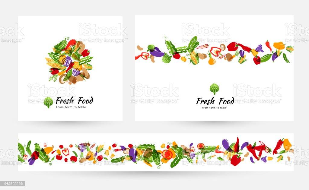 Banners de vegetales y elementos para el diseño del menú, etiquetas de tienda de alimentos orgánicos o envases ilustración de banners de vegetales y elementos para el diseño del menú etiquetas de tienda de alimentos orgánicos o envases y más vectores libres de derechos de alimento libre de derechos