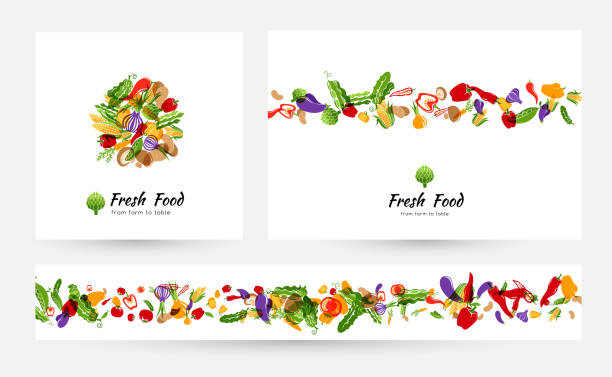 Vegetables banners and elements for menu design, packaging or organic food store labels Vegetables. Design collection for menu, organic and natural food stores, packaging and advertising. Round emblem, background with border element and horizontal border. cooking borders stock illustrations