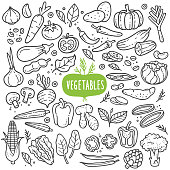 Vegetables doodle drawing collection. vegetable such as carrot, corn, ginger, mushroom, cucumber, cabbage, potato, etc. Hand drawn vector doodle illustrations in black isolated over white background.