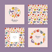 Vegetables card set, collection of templates with illustrations of various fruits and veggies food, design for invitation, farmers market poster or label, Vector borders and frames with copy space