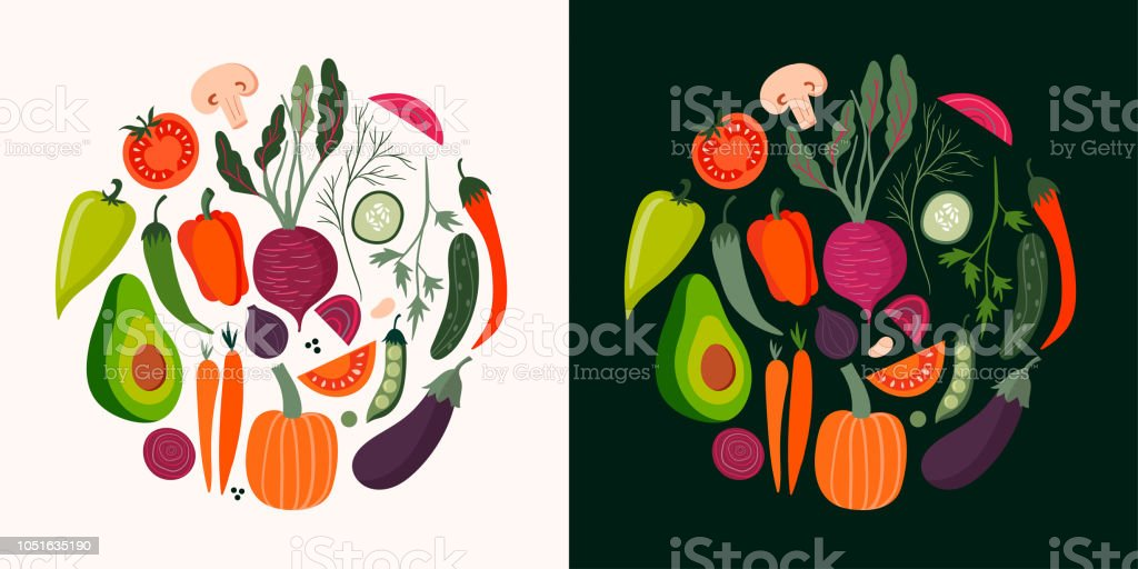 Vegetables cards collection with hand drawn isolated elements, vector...