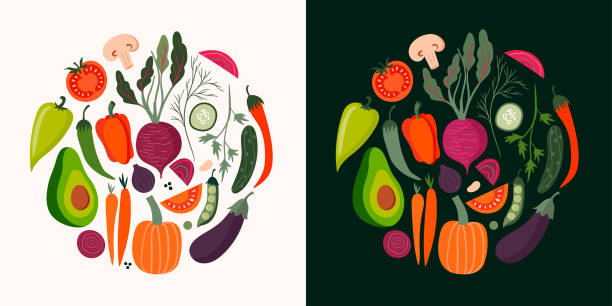 ilustraciones, imágenes clip art, dibujos animados e iconos de stock de colección de tarjetas de verduras - vegetal