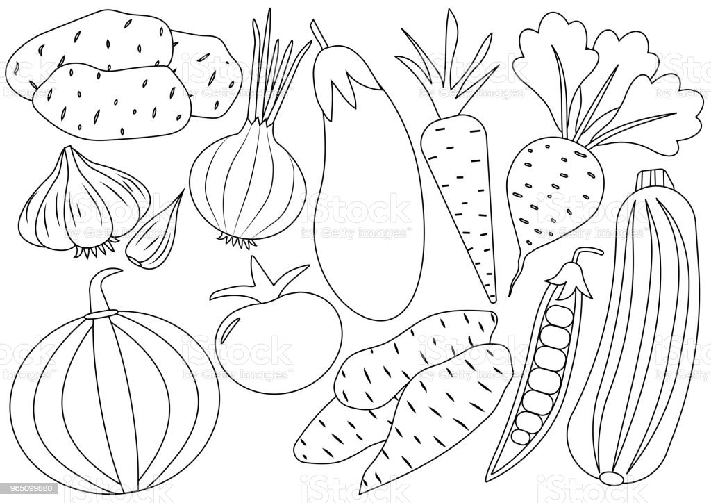 Vegetables cartoon set, icons. Coloring book. Vector illustration royalty-free vegetables cartoon set icons coloring book vector illustration stock vector art & more images of agriculture