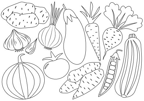 Vegetables cartoon set, icons. Coloring book. Vector illustration