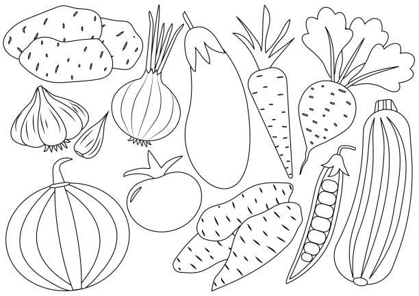 野菜は漫画のアイコン セットです。塗り絵。ベクトル図 - お絵かき点のイラスト素材/クリップアート素材/マンガ素材/アイコン素材