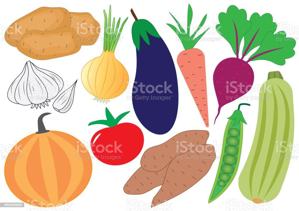 Vegetables cartoon set, icons. Vector illustration vegetables cartoon set icons vector illustration - stockowe grafiki wektorowe i więcej obrazów bakłażan royalty-free