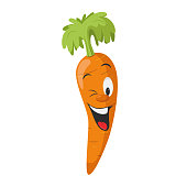 Vegetables Characters Collection: Vector illustration of a funny and smiling carrot in cartoon style.