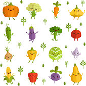 Vegetables characters with funny emotions. Vector illustration in comic style. Collection of vegetable funny cartoon characters