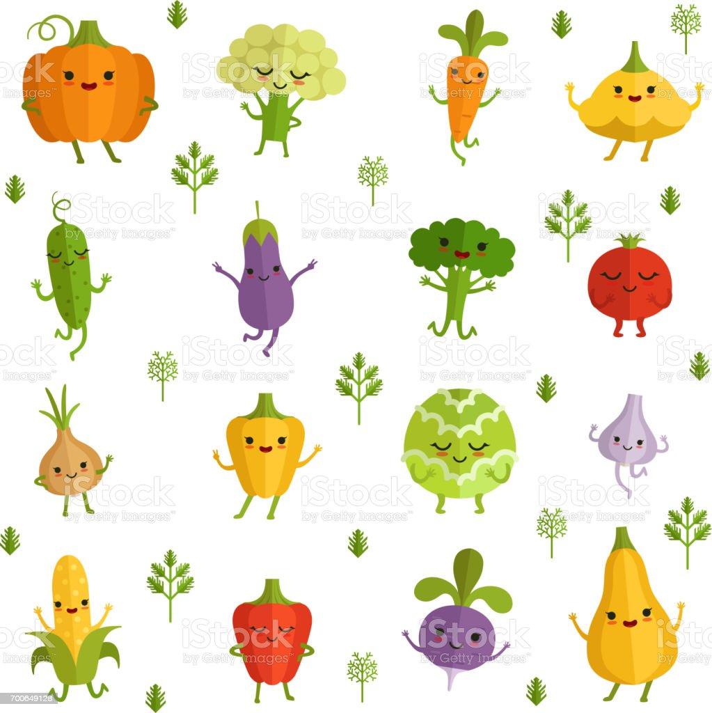 Personagens de legumes com emoções engraçadas. Ilustração vetorial no estilo cômico - ilustração de arte em vetor