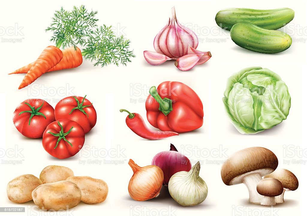 vegetables collection vector art illustration