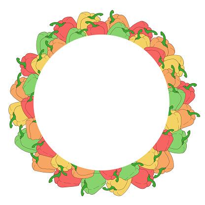 Vegetables. Color bell pepper. Round vector frame template.