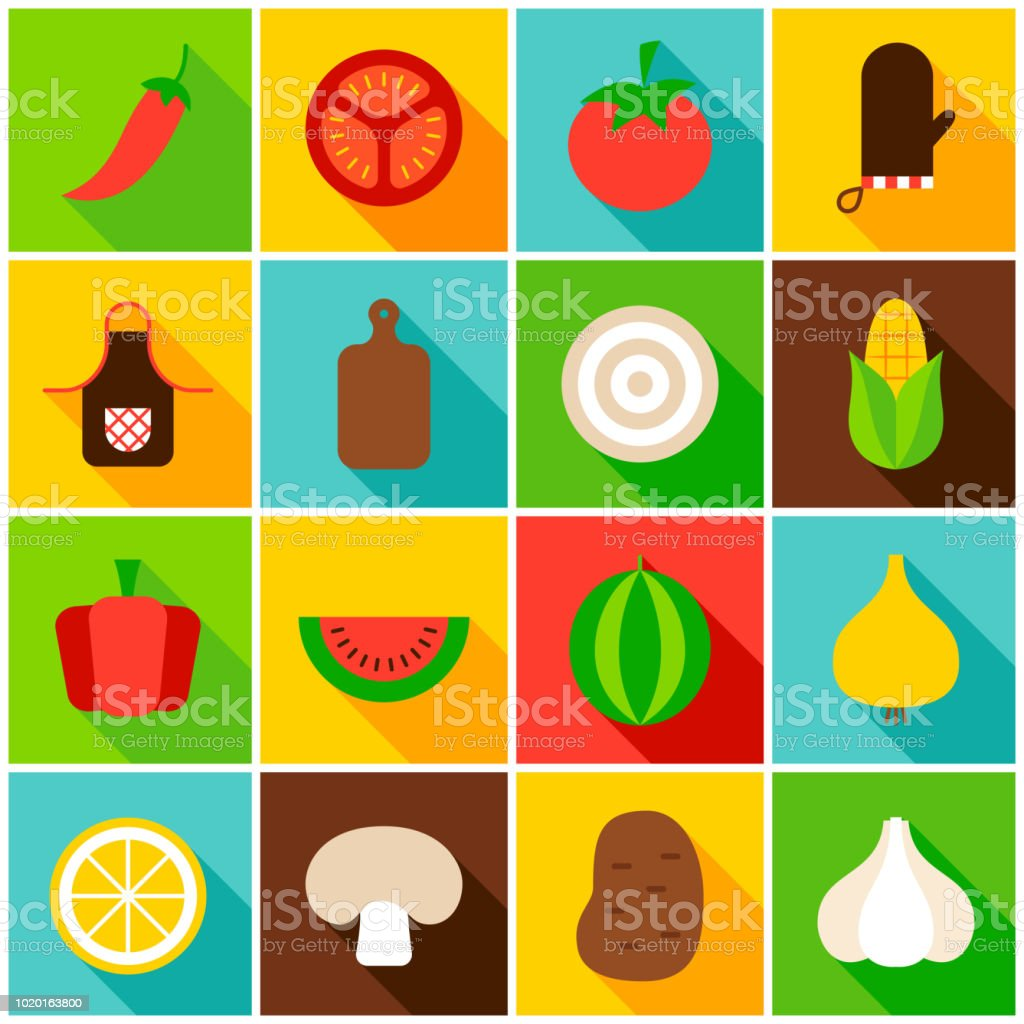 Vegetables Colorful Icons vector art illustration