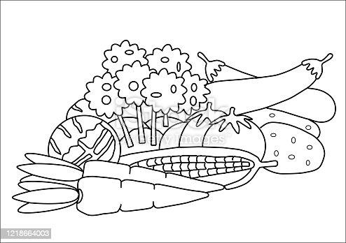 istock Vegetables coloring book 1218664003