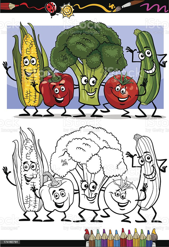 vegetables comic group for coloring book royalty-free stock vector art