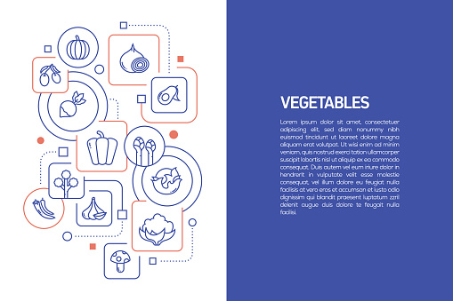 Vegetables Concept, Vector Illustration of Vegetables with Icons