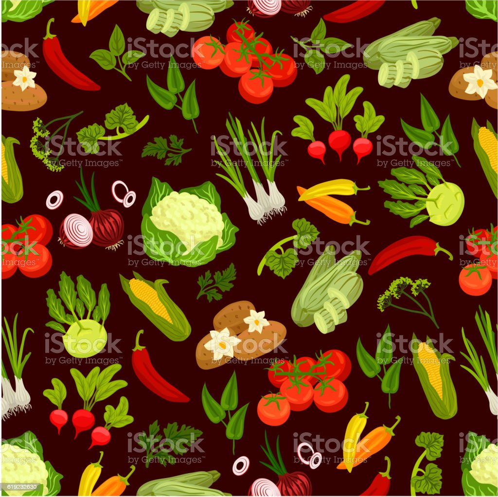 Vegetables decorative seamless pattern vector art illustration