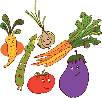 Vegetables drawn with smile