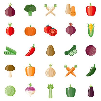 Vegetables Flat Design Icon Set