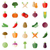A set of flat design styled vegetables icons with a long side shadow. Color swatches are global so it's easy to edit and change the colors. File is built in the CMYK color space for optimal printing.