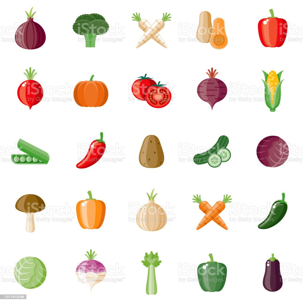Vegetables Flat Design Icon Set vector art illustration