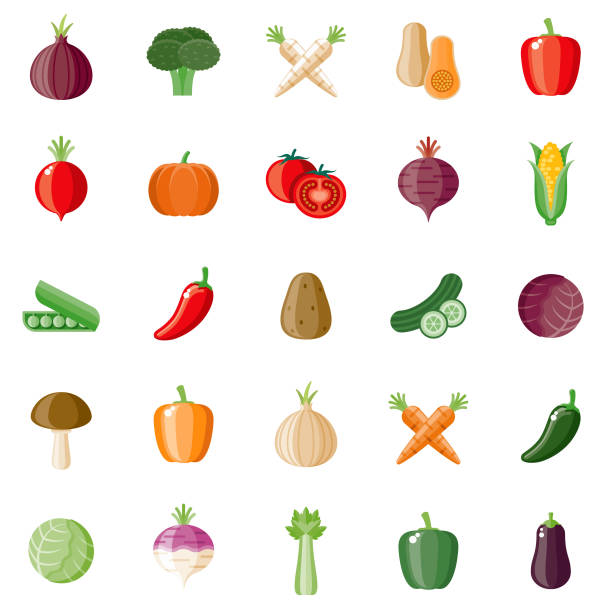 Vegetables Flat Design Icon Set A set of flat design styled vegetables icons with a long side shadow. Color swatches are global so it's easy to edit and change the colors. File is built in the CMYK color space for optimal printing. radish stock illustrations