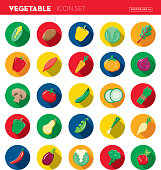 Vector illustration of a vegetables Flat Design themed Icon Set with shadow. Vector eps 10, fully editable.