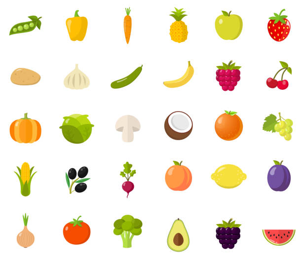 vegetables flat design - fruit icon stock illustrations, clip art, cartoons, & icons