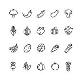 Vegetables Food Black Thin Line Icon Set. Vector