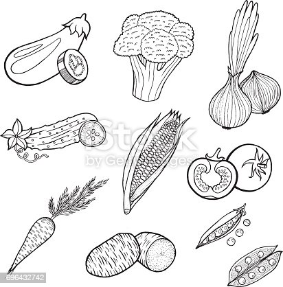 istock Lovely vegetables vector set with white background 638816442 ...