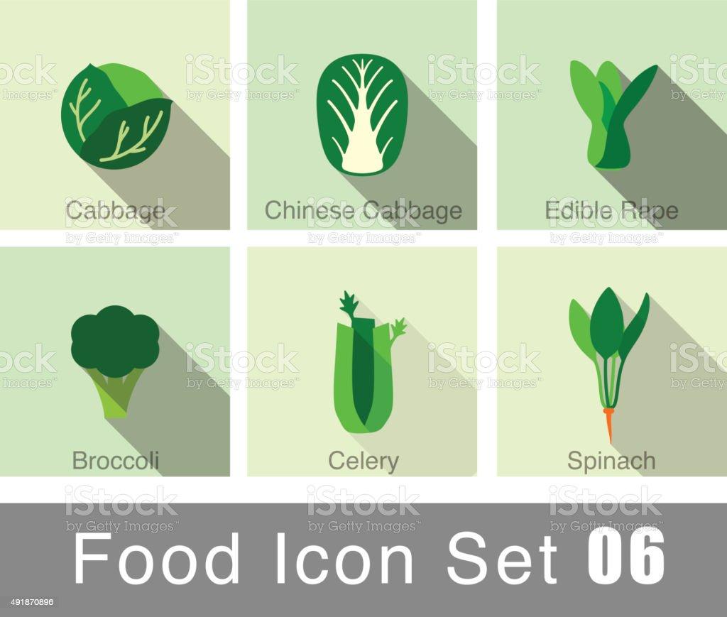 Vegetables food flat icon set vector art illustration