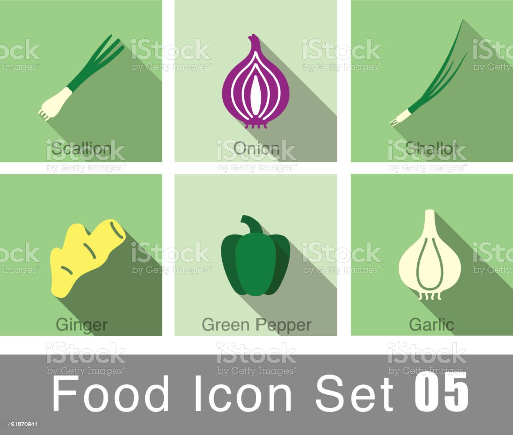 Vegetables food flat icon set vector art illustration