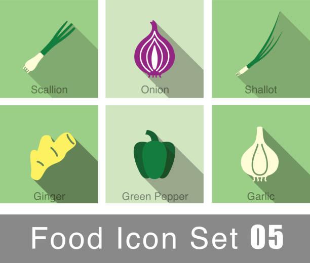 Vegetables food flat icon set food flat icon set scallion stock illustrations