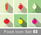 Vegetables food flat icon set