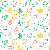Vegetables Food Special Shop Pattern Background on a White Ingredient Healthy Diet. Vector illustration