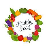 Vegetables frame. Healthy food. Organic food. Flat style, vector illustration.