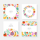 Vegetables frames templates, set of invitation or greeting card, copy space backgrounds, borders and wreaths with fruits food hand drawn illustrations, vector arrangements, good as menu cover, label