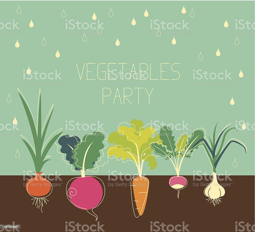 Vegetables garden vector art illustration