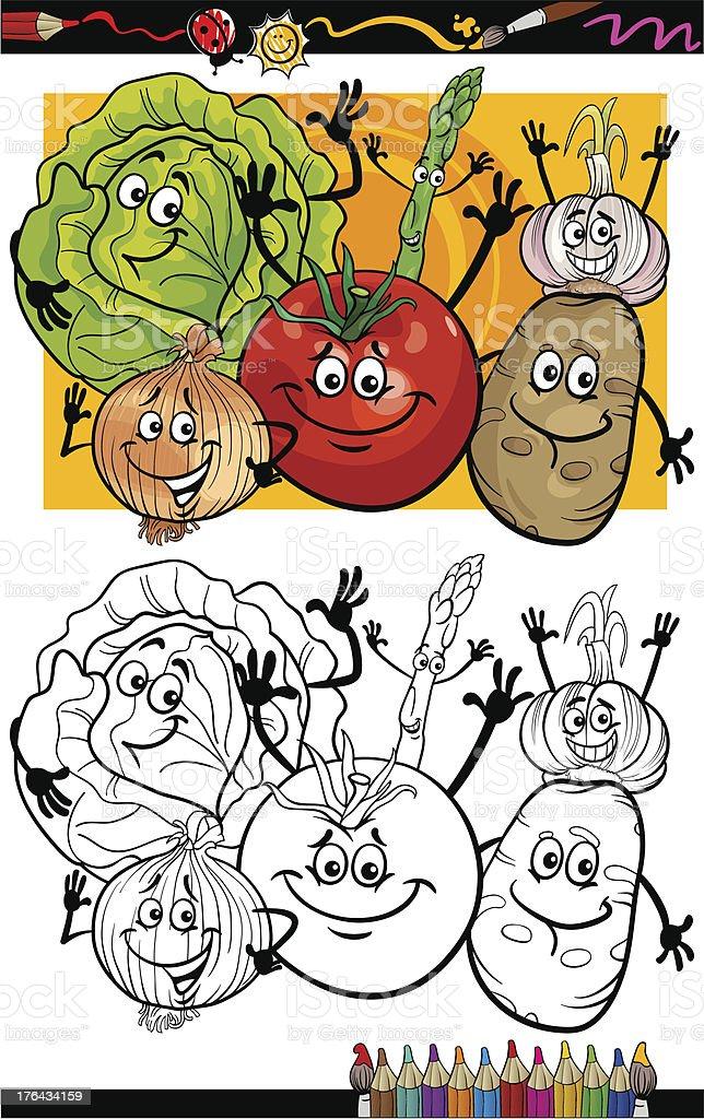 Coloriage Pomme Et Oignon Dessin Anime.Groupe De Dessin Anime Legumes A Colorier Vecteurs Libres De