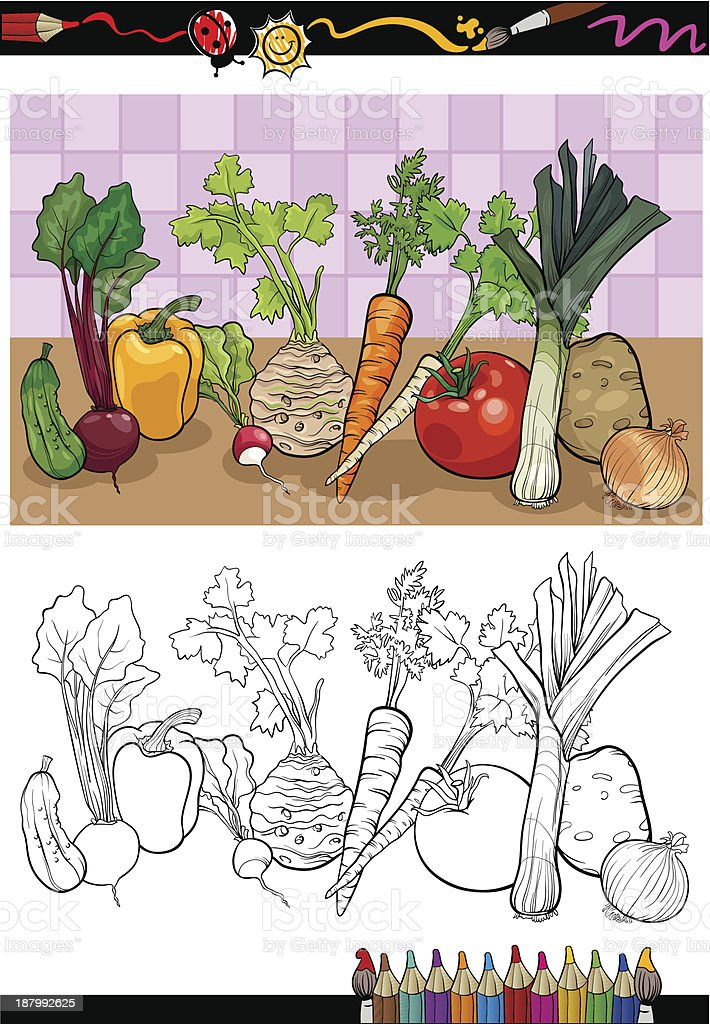 vegetables group illustration for coloring royalty-free vegetables group illustration for coloring stock vector art & more images of beet