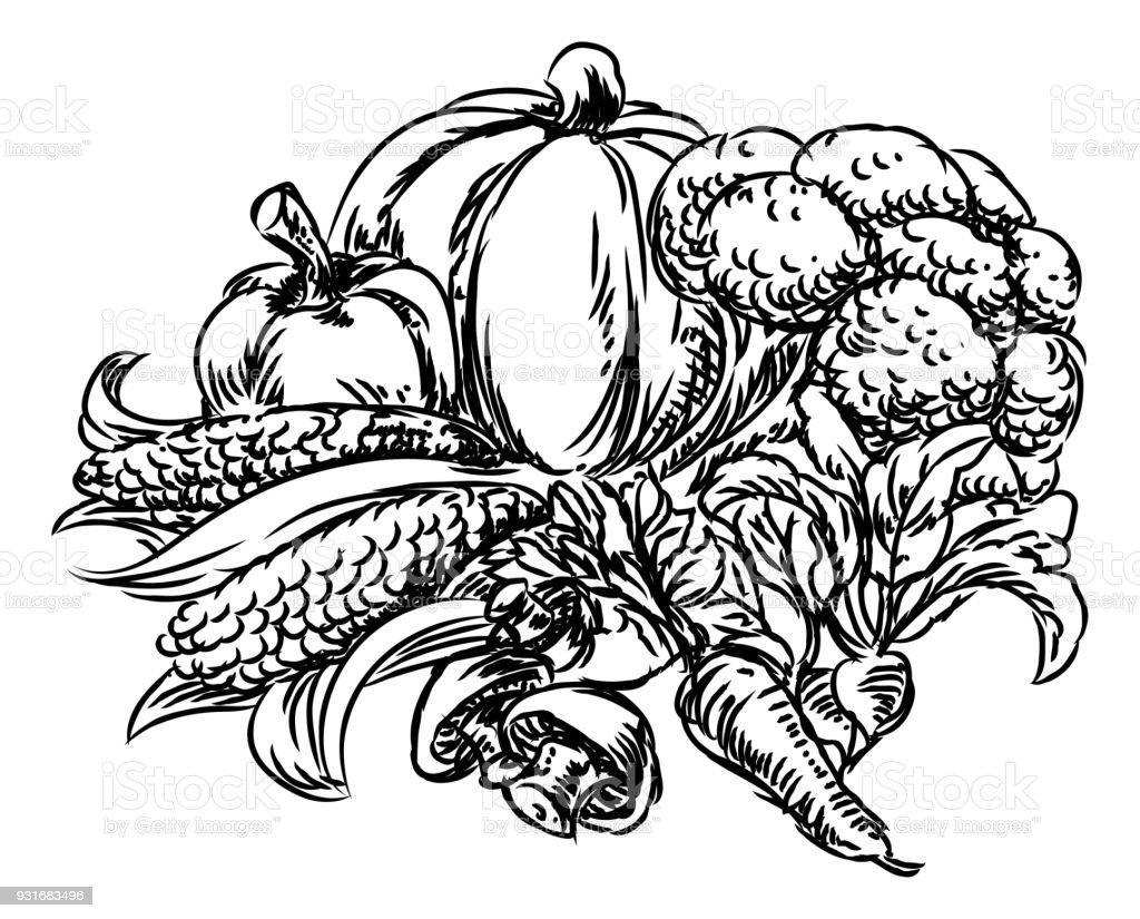 Vegetables Grunge Style Hand Drawn Icon vector art illustration